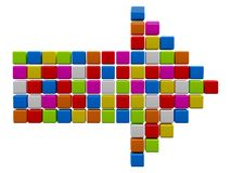Colourful arrow from cubes. 3D colourful arrow from cubes. 3D render illustration Stock Photography