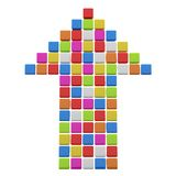 Colourful arrow from cubes. 3D Colourful arrow from cubes. 3D render illustration Royalty Free Stock Image