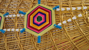 Colourful Art handicraft on fish trap Royalty Free Stock Photography