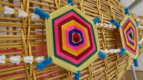 Colourful Art handicraft on fish trap Stock Photos
