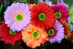 Colourful artificial flowers Stock Photography