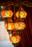 Colourful Asian mosaic lamps stock images
