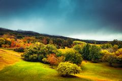 Colourful autumn in Adelaide Hills. Colorful autumn trees under stormy sky in Mount Lofty, Adelaide Hills, South Australia royalty free stock photo