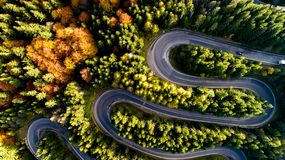 Free Colourful Autumn Landscape Aerial View Of Highway, Cars, Trees With Yellow And Orange Leaves. Europe Roads Details Stock Photos - 161945963