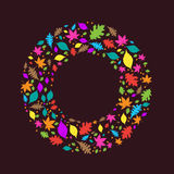 Colourful Autumn Leaves Circle Stock Photo