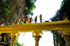Colourful back view of hindu statues, Batu Cave, Malaysia Royalty Free Stock Images
