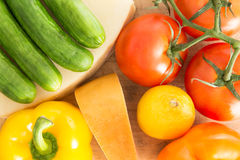 Colourful background of healthy fresh groceries Royalty Free Stock Photography