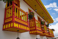 Colourful balconies. Colonial style balconies in Salento COlombia Stock Photo