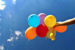 Colourful Balloons in the Blue Sky Royalty Free Stock Photos