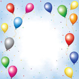Colourful balloons and confett Stock Photos