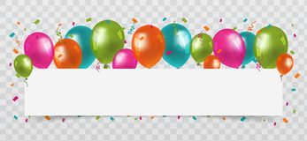 Colourful Balloons with confetti and streamers white Paper free Space. Transparent background. Birthday, Party and Carnival Vector