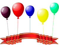 Colourful balloons with glare. Beautiful colour balloons in the air. Vector illustration Stock Photography
