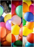 Colourful balloons in panels royalty free stock photography