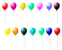 Colourful balloons set with glare. Beautiful colour balloons set with spot of light. Vector illustration Royalty Free Stock Photography