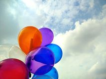 Colourful balloons and sky Royalty Free Stock Images