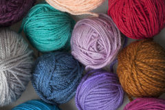 Colourful balls of wool yarn Royalty Free Stock Photo