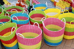 Colourful Bamboo Basket. Selling in the market Stock Photo