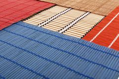 Colourful bamboo rugs in the Chinese style Royalty Free Stock Images