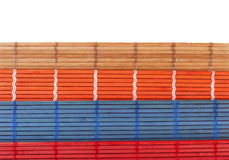 Colourful bamboo rugs in the Chinese style Stock Photos
