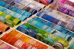 Colourful bangles on a market stall Royalty Free Stock Photo