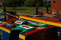 Colourful barges. Narrowboats at etruria staffordshire Royalty Free Stock Photo