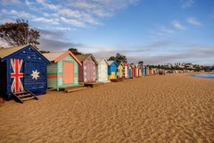 Colourful bathing boxes at Brighton beach in Melbourne, Australia.  royalty free stock images