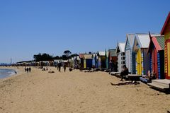 Colourful Bathing Boxes in Brighton Beach, Melbourne, Australia stock images