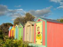 Colourful bathing boxes in Mornington on the Mornington Peninsula Royalty Free Stock Images