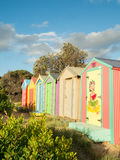 Colourful bathing boxes in Mornington on the Mornington Peninsula Royalty Free Stock Photo
