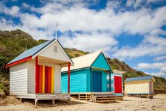 Colourful Bathing Boxes, Mornington Peninsula, Victoria, Australia, February 2017 royalty free stock photography