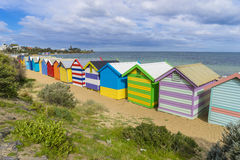 Colourful bathing houses at Dendy Street Beach, Brighton in Melbourne Stock Images