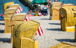 Colourful beach chairs in Travemunde, Germany Royalty Free Stock Photos