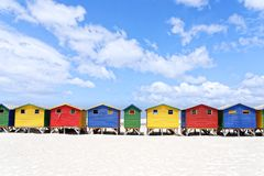 Colourful Beach houses in Muizenberg Cape Town. Colourful beach houses in Cape Town South Africa. This shot was taken in Muizenberg stock photo
