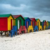 Colourful Beach Houses in Muizenberg, South Africa.  stock image