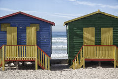 Colourful beach huts. For changing into swim wear on the beach Stock Photo