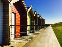 Colourful beach huts in Blyth Stock Images