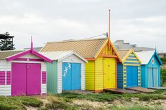 Colourful beach huts on Edithvale Beach in Melbourne. Colourful beach huts on Edithvale Beach in Melbourne, Australia royalty free stock photos