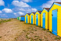 Littlehampton beach huts. Colourful beach huts at Littlehampton West Sussex England UK Europe stock image