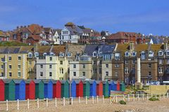 Colourful beach huts in South coast of UK. Beach huts in St Leonard's  -south of UK Stock Photography