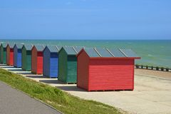 Colourful beach huts in South coast of UK. Beach huts in St Leonard's  -south of UK Stock Photo
