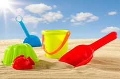Colourful beach toys for kids Royalty Free Stock Images