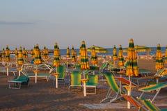 Colourful beach umbrellas on the beach Royalty Free Stock Photos