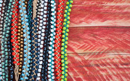 Colourful bead bracelets background Stock Image
