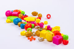 Colourful beads - white background. Royalty Free Stock Photo