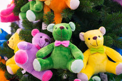 Colourful bears. On the christmas tree Royalty Free Stock Image