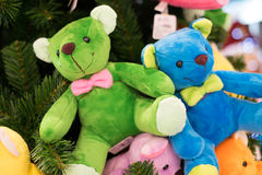 Colourful bears. Hanging on the christmas tree Stock Photography