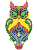 Colourful big owl with close eyes Royalty Free Stock Images