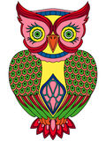 Colourful big serious owl Royalty Free Stock Image