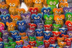 Colourful bird shaped clay objects royalty free stock photo