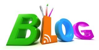 Colourful blog. 3D concept Stock Photos